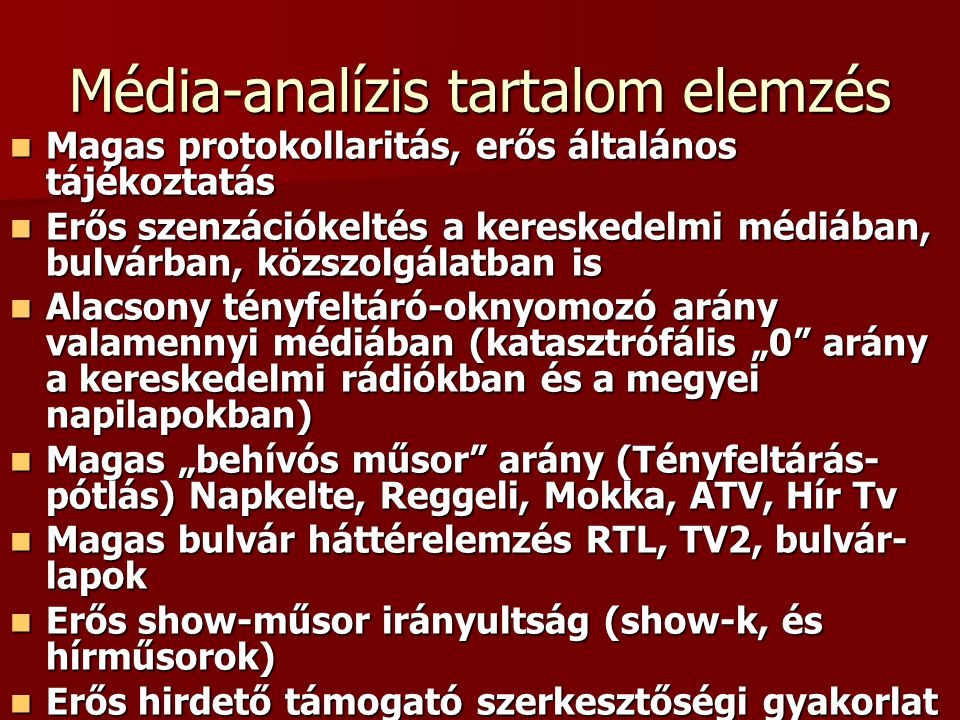 Média-analízis tartalom elemzés