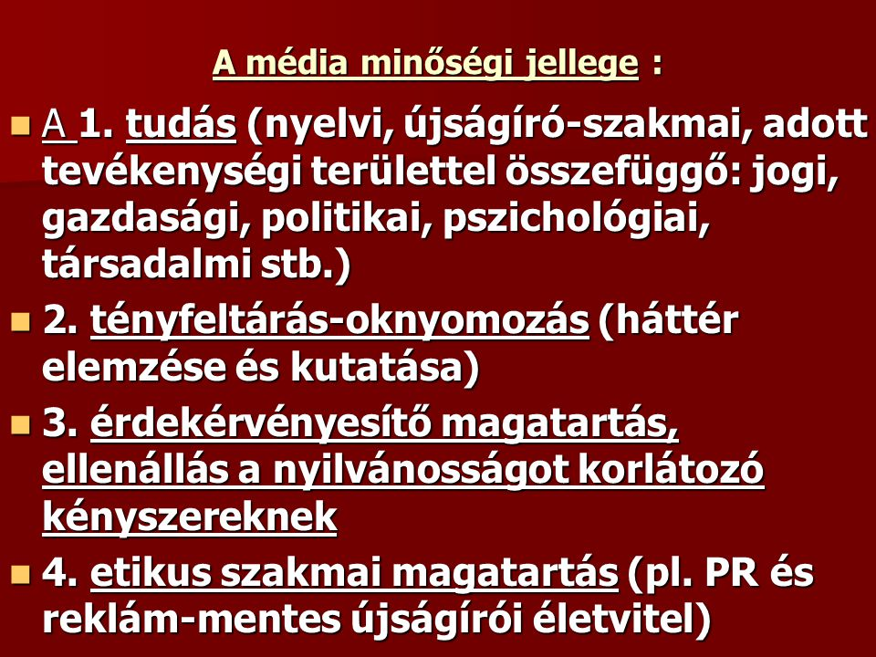 A média minőségi jellege :
