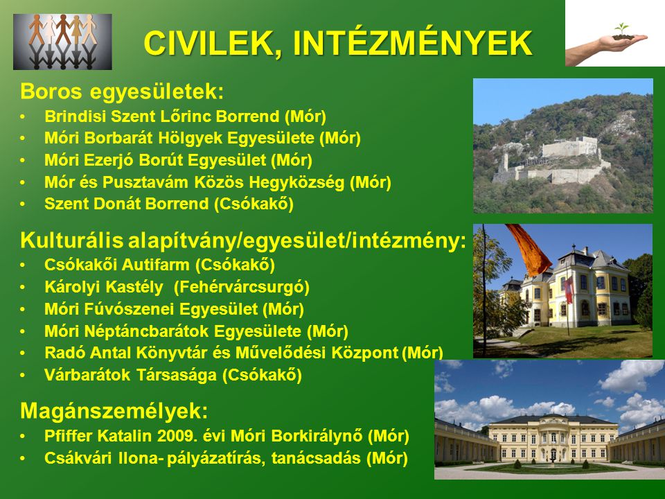 CIVILEK, INTÉZMÉNYEK Boros egyesületek: