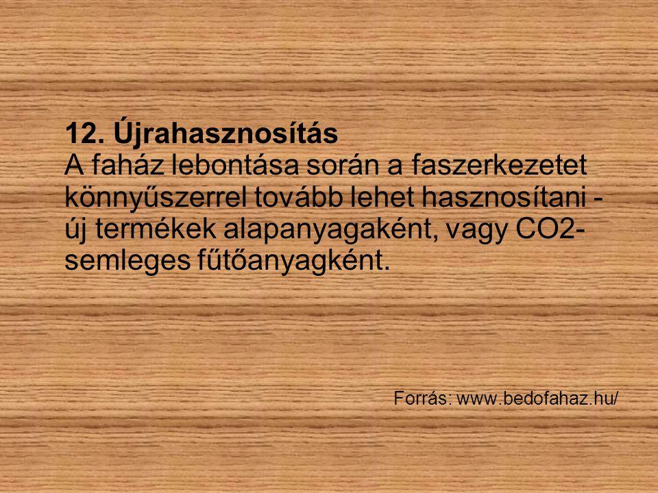 12. Újrahasznosítás A faház lebontása során a faszerkezetet könnyűszerrel tovább lehet hasznosítani - új termékek alapanyagaként, vagy CO2-semleges fűtőanyagként.