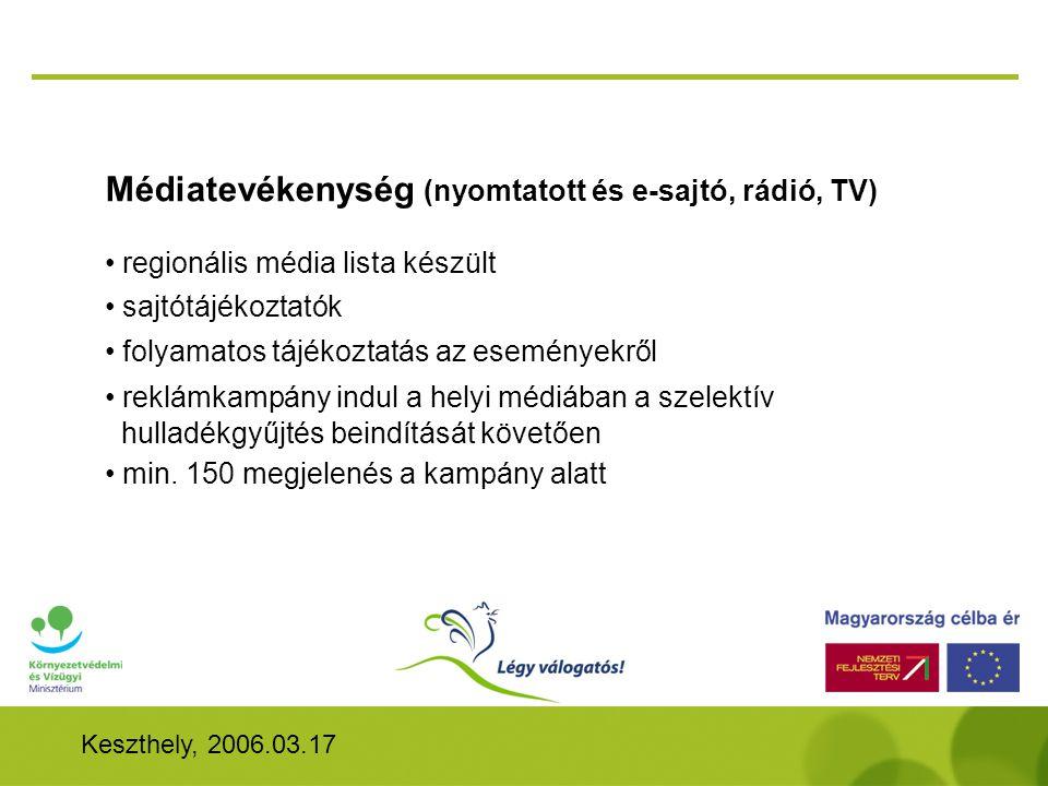 Médiatevékenység (nyomtatott és e-sajtó, rádió, TV)