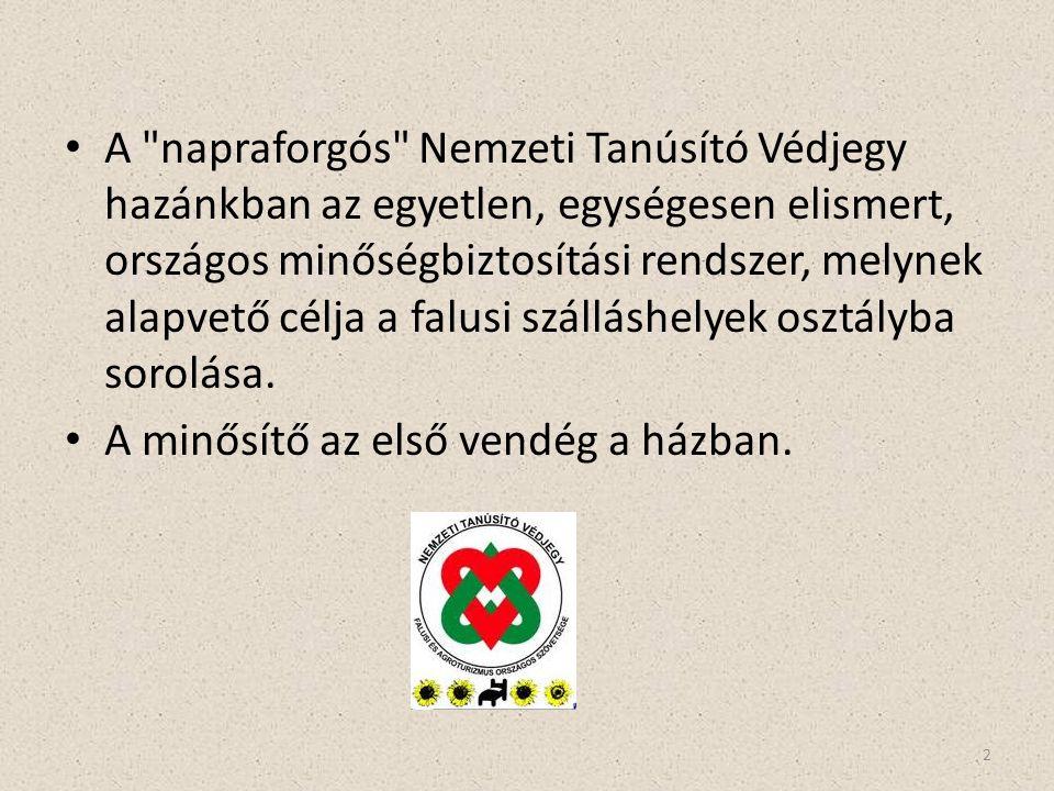 A napraforgós Nemzeti Tanúsító Védjegy hazánkban az egyetlen, egységesen elismert, országos minőségbiztosítási rendszer, melynek alapvető célja a falusi szálláshelyek osztályba sorolása.