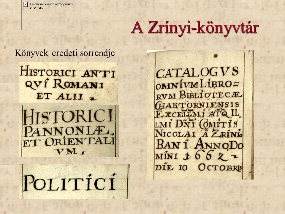 A Zrínyi-könyvtár Könyvek eredeti sorrendje