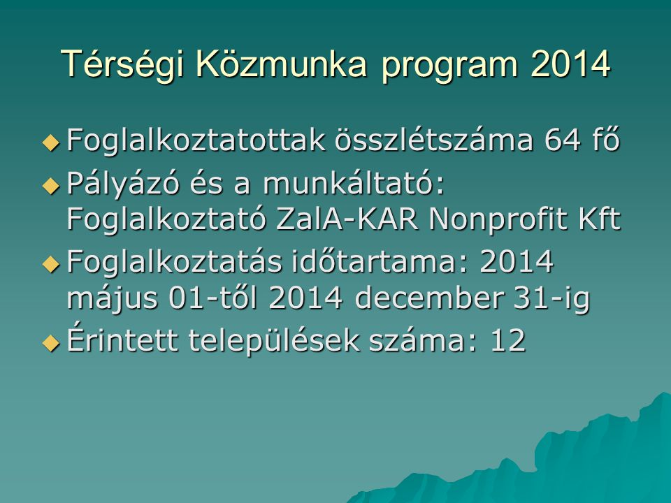 Térségi Közmunka program 2014