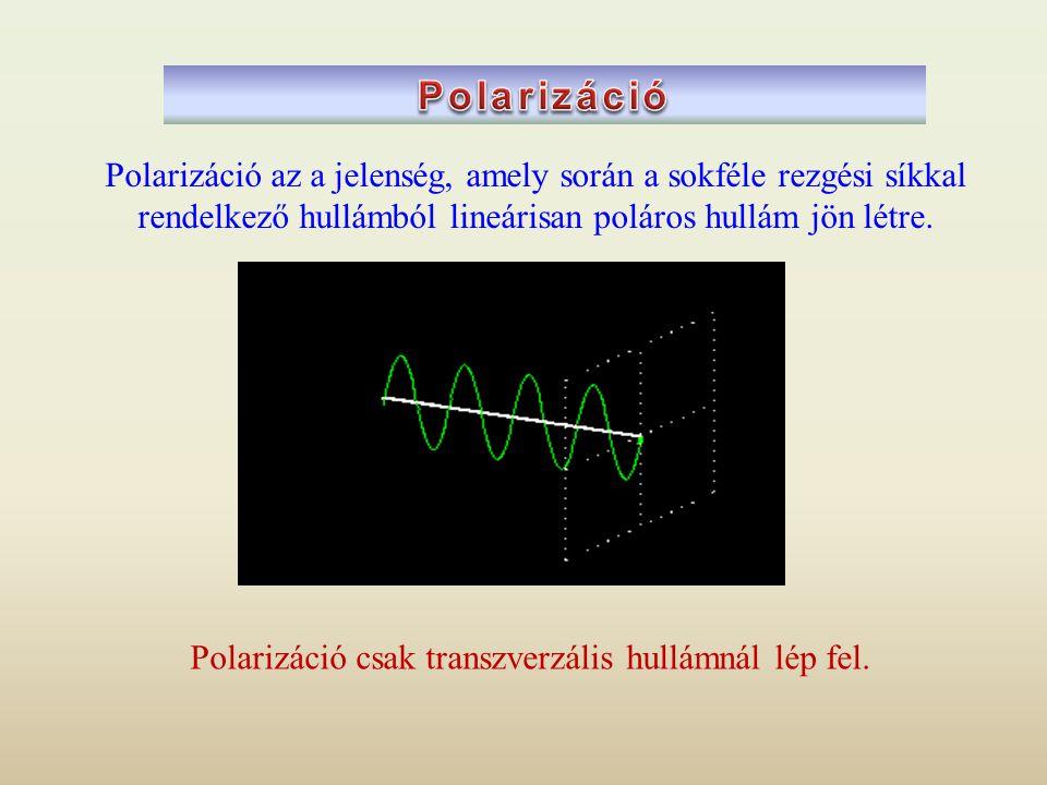 Polarizáció Polarizáció az a jelenség, amely során a sokféle rezgési síkkal rendelkező hullámból lineárisan poláros hullám jön létre.