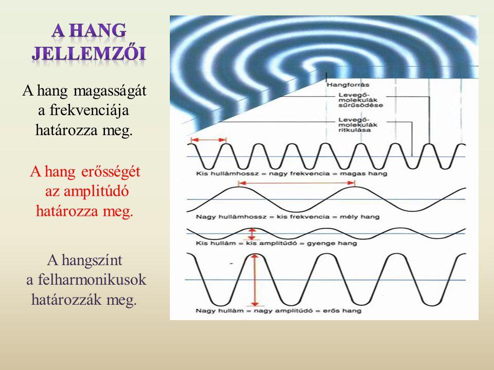 A hang jellemzői A hang magasságát a frekvenciája határozza meg.