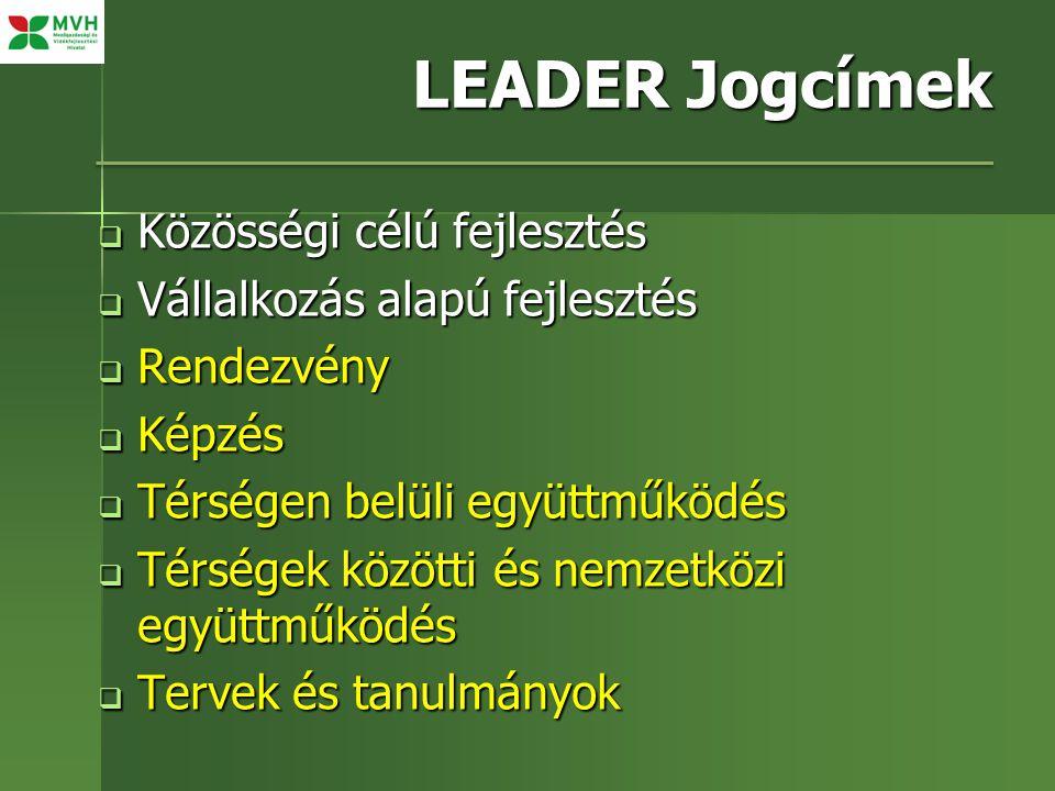 LEADER Jogcímek Közösségi célú fejlesztés Vállalkozás alapú fejlesztés