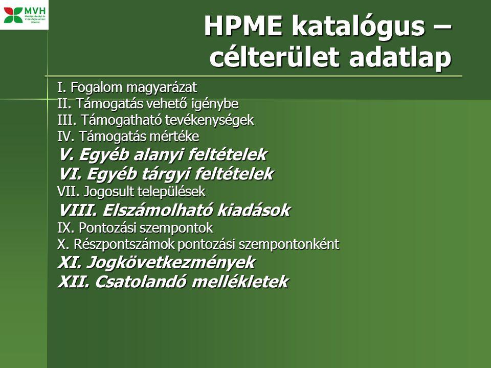 HPME katalógus – célterület adatlap