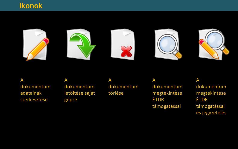 Ikonok A dokumentum adatainak szerkesztése