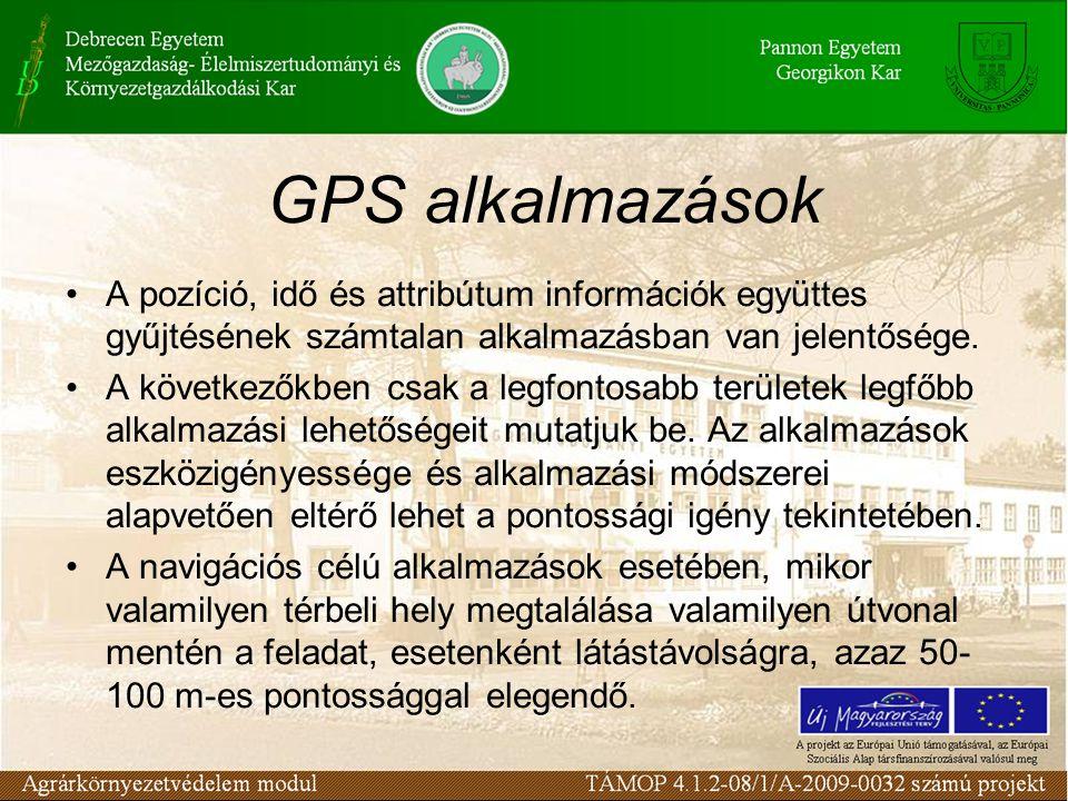 GPS alkalmazások A pozíció, idő és attribútum információk együttes gyűjtésének számtalan alkalmazásban van jelentősége.