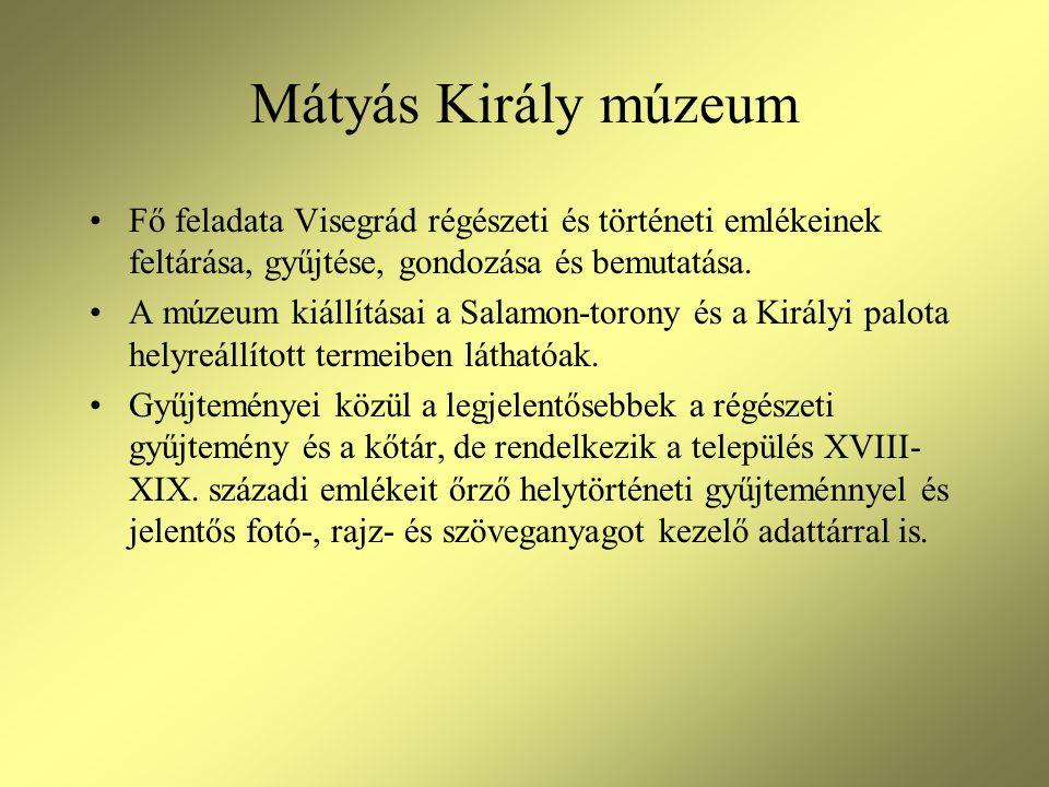 Mátyás Király múzeum Fő feladata Visegrád régészeti és történeti emlékeinek feltárása, gyűjtése, gondozása és bemutatása.