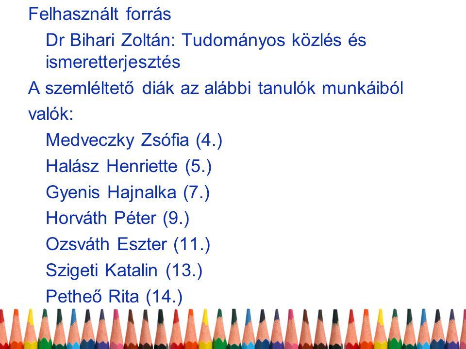 Felhasznált forrás Dr Bihari Zoltán: Tudományos közlés és ismeretterjesztés. A szemléltető diák az alábbi tanulók munkáiból.