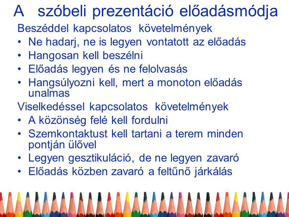 A szóbeli prezentáció előadásmódja