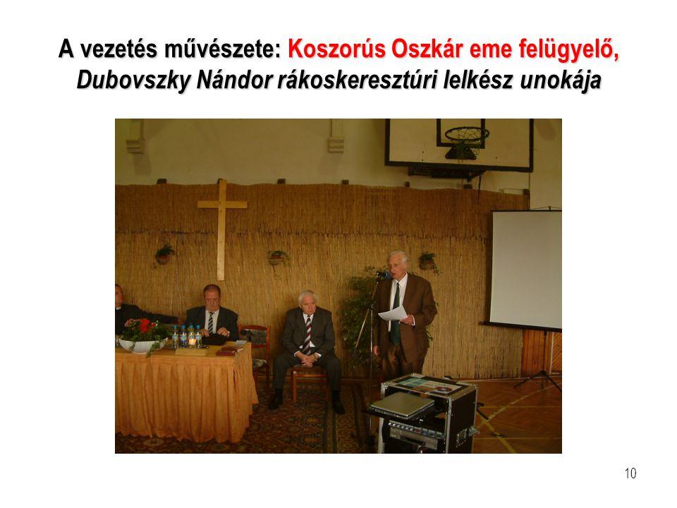 A vezetés művészete: Koszorús Oszkár eme felügyelő, Dubovszky Nándor rákoskeresztúri lelkész unokája