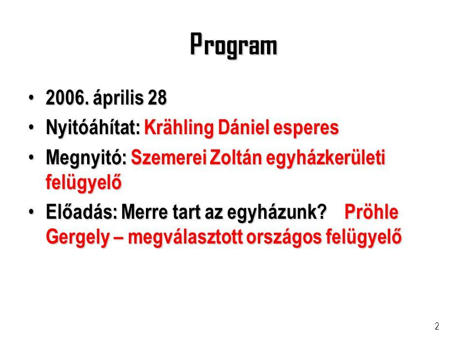 Program 2006. április 28 Nyitóáhítat: Krähling Dániel esperes