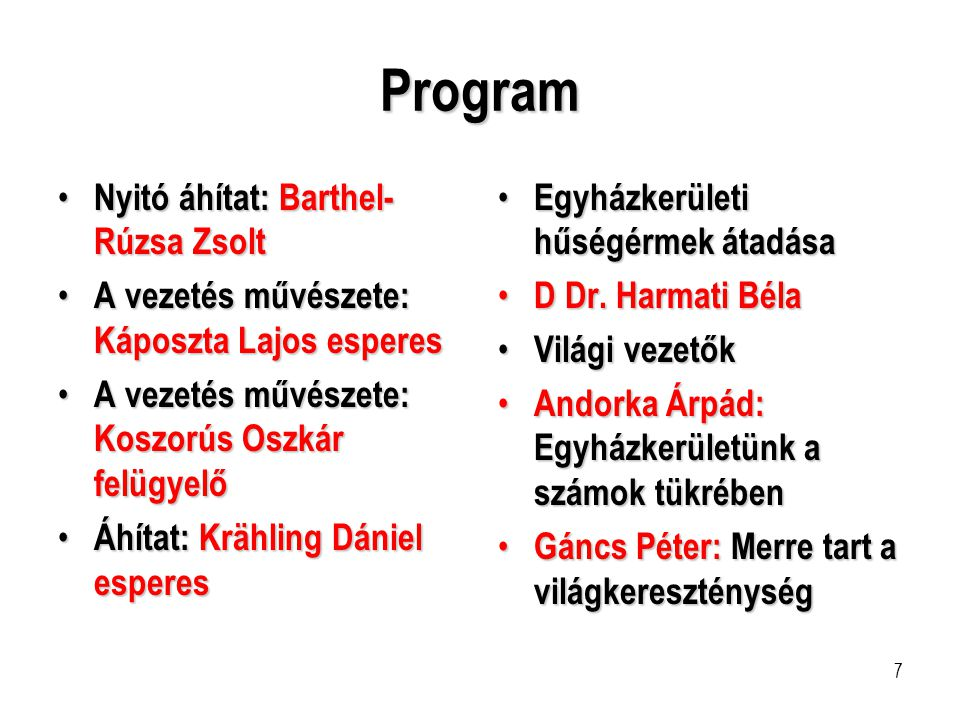 Program Nyitó áhítat: Barthel-Rúzsa Zsolt