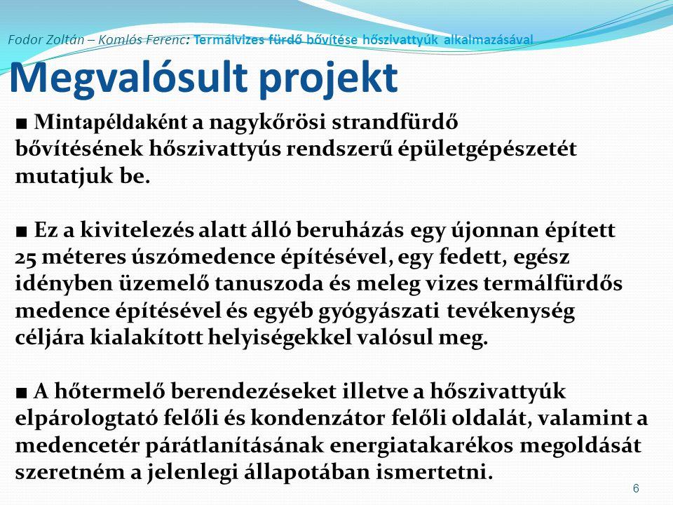 Fodor Zoltán – Komlós Ferenc: Termálvizes fürdő bővítése hőszivattyúk alkalmazásával Megvalósult projekt