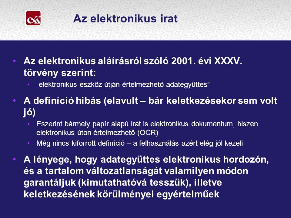 """Az elektronikus irat Az elektronikus aláírásról szóló 2001. évi XXXV. törvény szerint: """"elektronikus eszköz útján értelmezhető adategyüttes"""