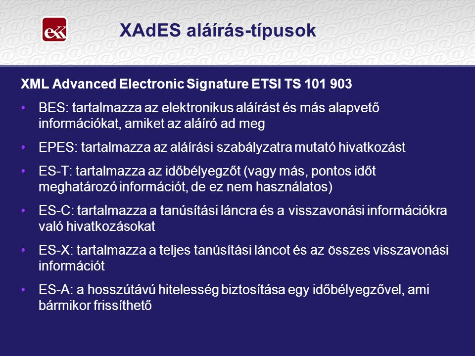 XAdES aláírás-típusok