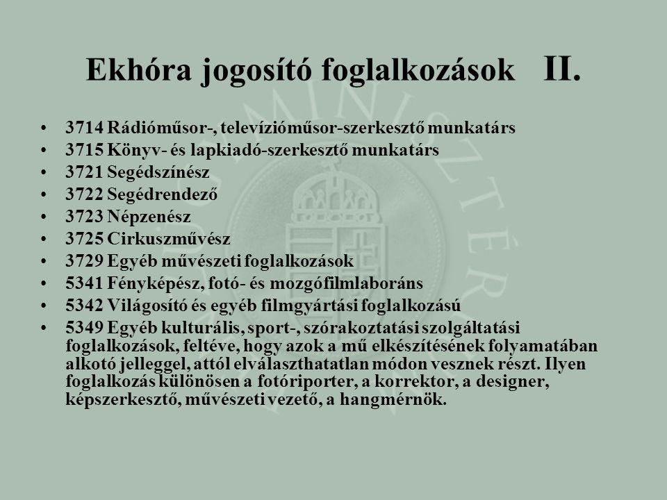 Ekhóra jogosító foglalkozások II.