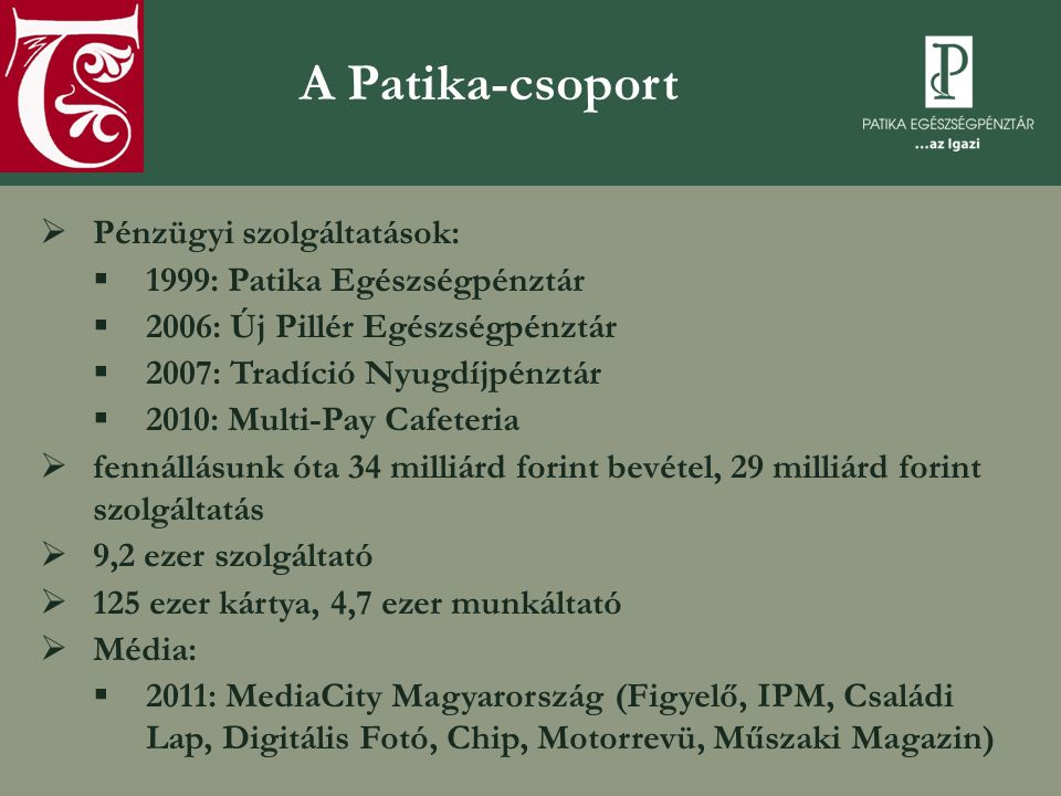 A Patika-csoport Pénzügyi szolgáltatások: 1999: Patika Egészségpénztár