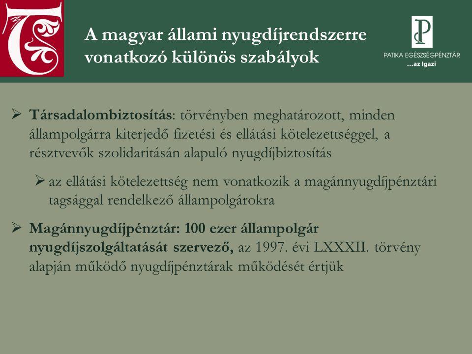 A magyar állami nyugdíjrendszerre vonatkozó különös szabályok