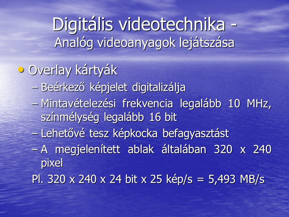 Digitális videotechnika - Analóg videoanyagok lejátszása