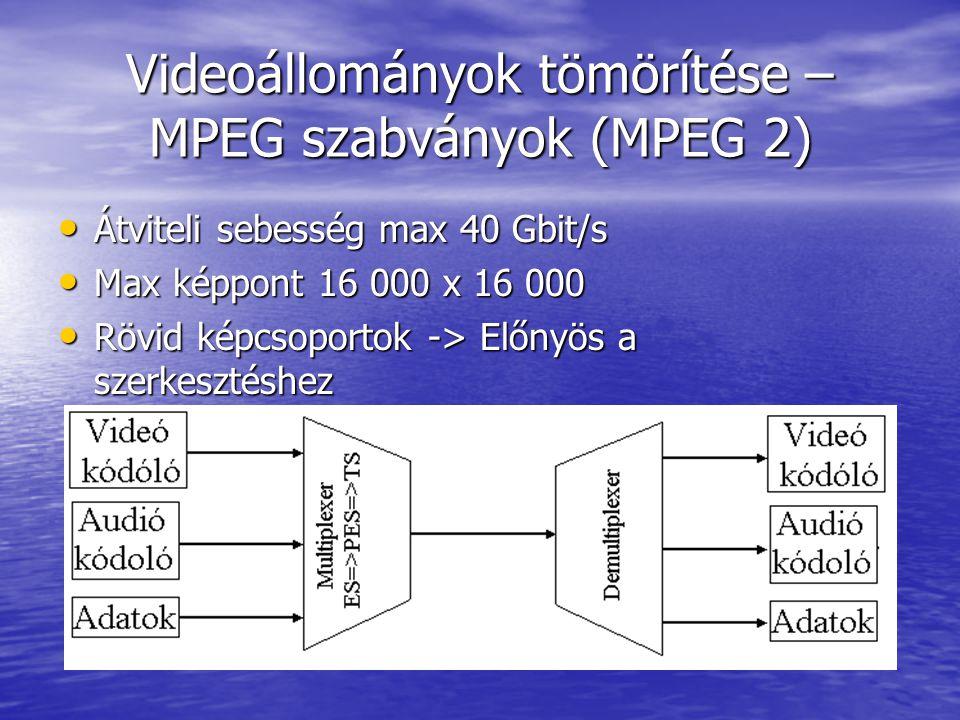 Videoállományok tömörítése – MPEG szabványok (MPEG 2)