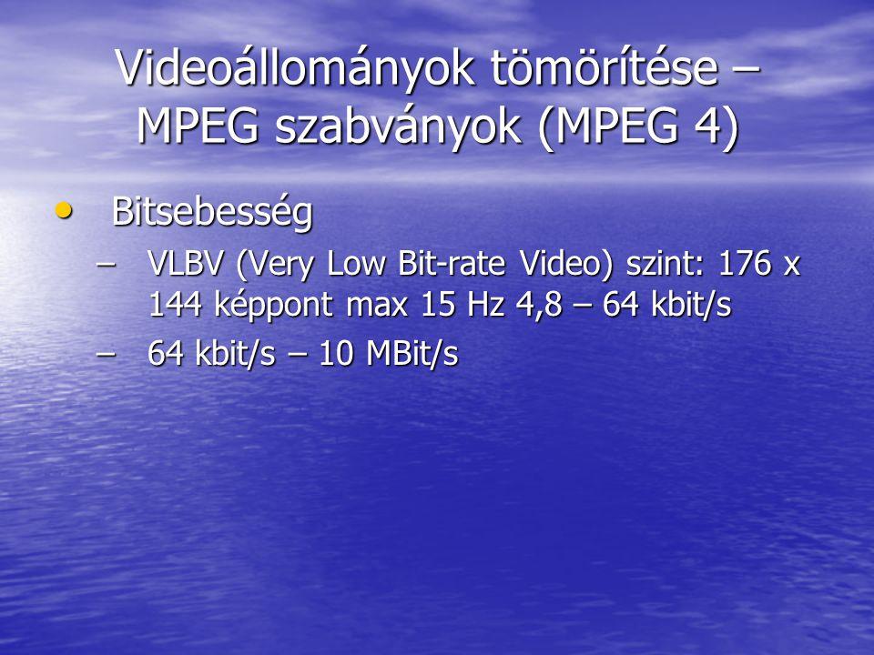 Videoállományok tömörítése – MPEG szabványok (MPEG 4)