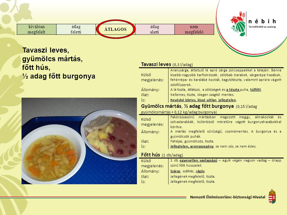 Tavaszi leves, gyümölcs mártás, főtt hús, ½ adag főtt burgonya