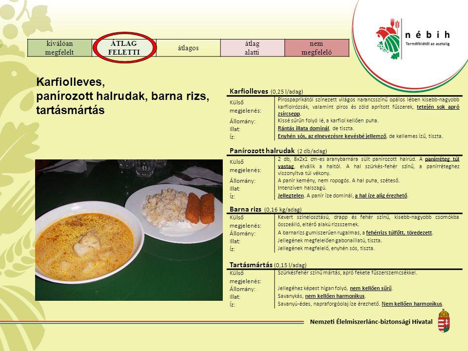 panírozott halrudak, barna rizs, tartásmártás