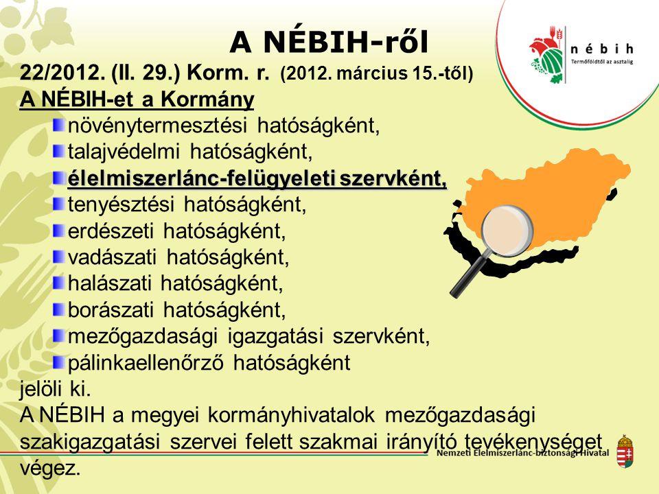 A NÉBIH-ről 22/2012. (II. 29.) Korm. r. (2012. március 15.-től)