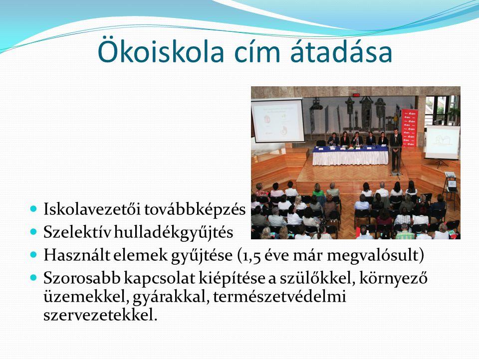 Ökoiskola cím átadása Iskolavezetői továbbképzés