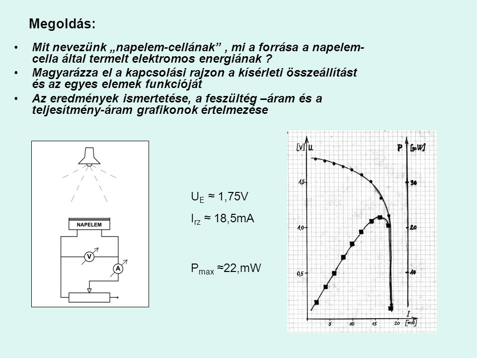 """Megoldás: Mit nevezünk """"napelem-cellának , mi a forrása a napelem-cella által termelt elektromos energiának"""
