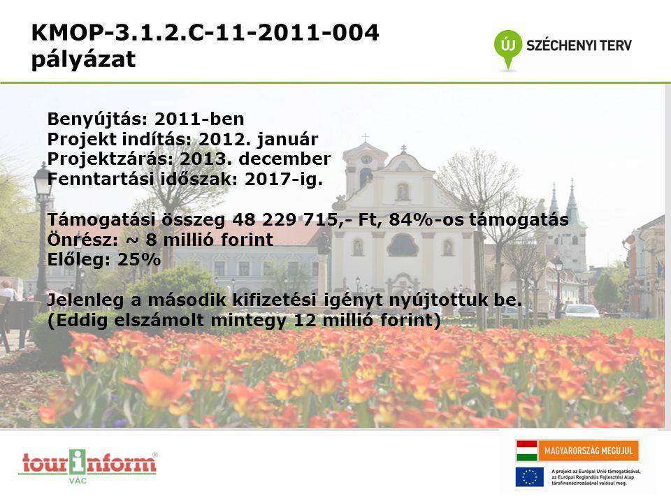 KMOP-3.1.2.C-11-2011-004 pályázat Benyújtás: 2011-ben