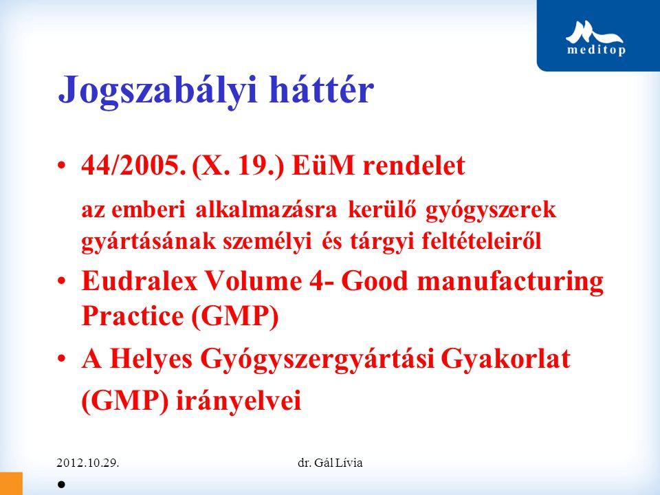 Jogszabályi háttér 44/2005. (X. 19.) EüM rendelet