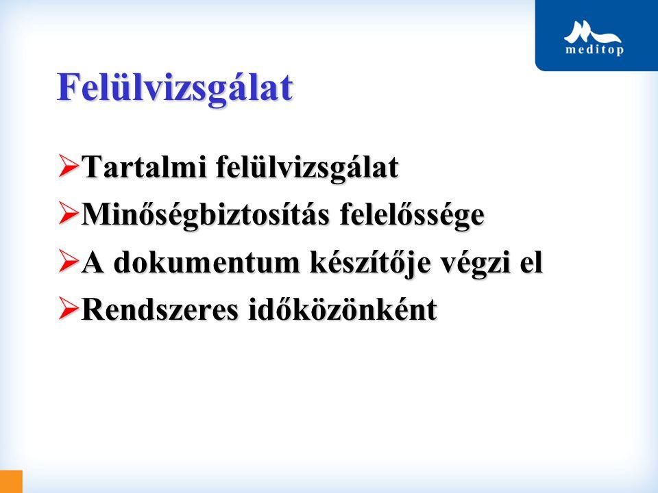 Felülvizsgálat Tartalmi felülvizsgálat Minőségbiztosítás felelőssége