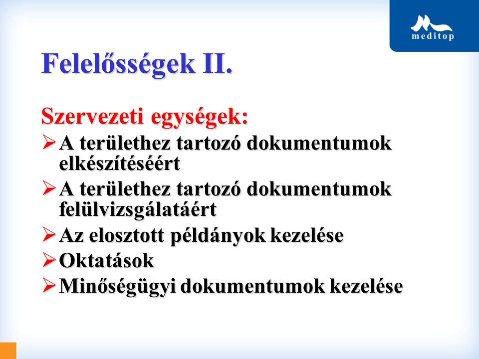 Felelősségek II. Szervezeti egységek: