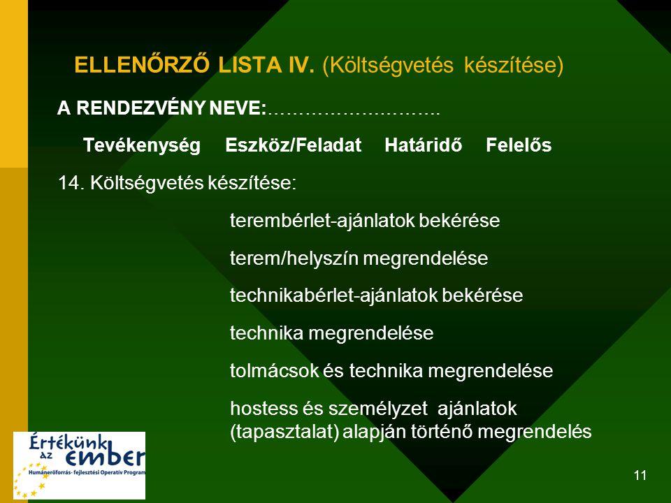 ELLENŐRZŐ LISTA IV. (Költségvetés készítése)