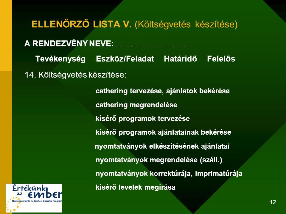 ELLENŐRZŐ LISTA V. (Költségvetés készítése)