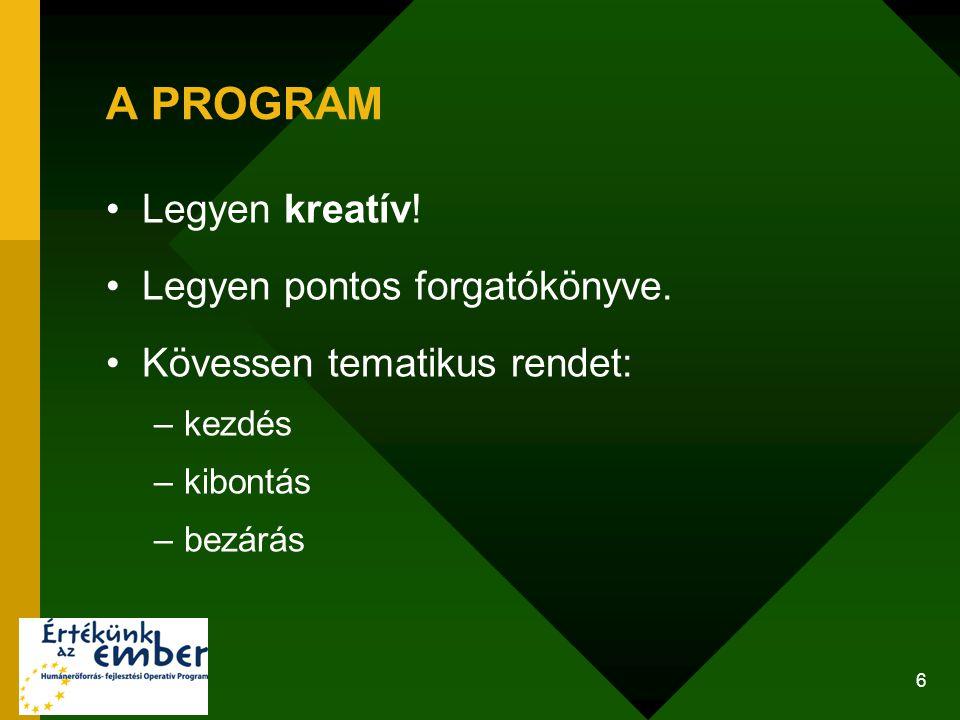 A PROGRAM Legyen kreatív! Legyen pontos forgatókönyve.