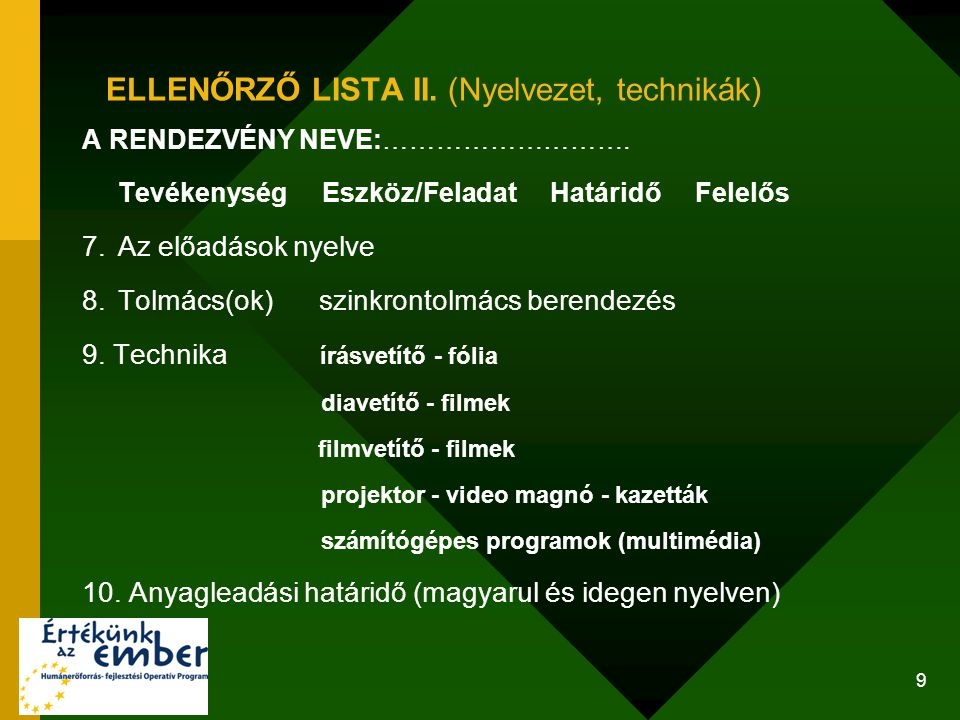 ELLENŐRZŐ LISTA II. (Nyelvezet, technikák)