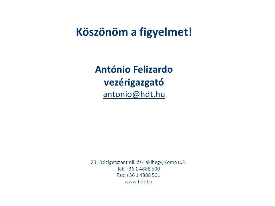Köszönöm a figyelmet! António Felizardo vezérigazgató antonio@hdt.hu