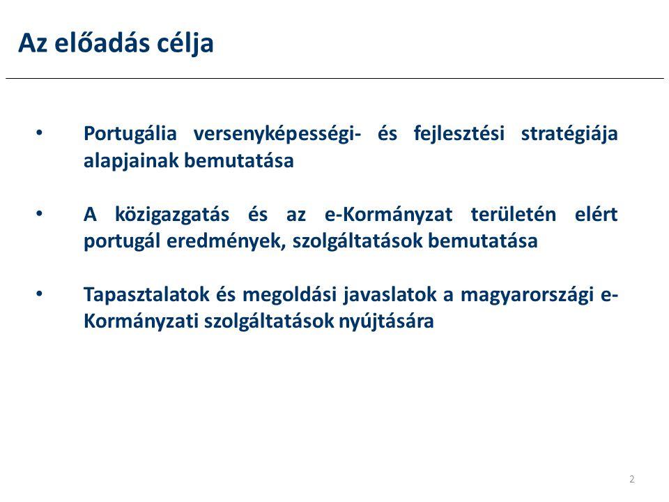 Az előadás célja Portugália versenyképességi- és fejlesztési stratégiája alapjainak bemutatása.
