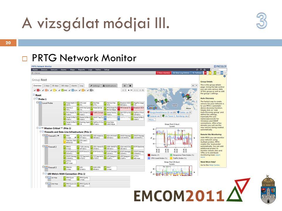 A vizsgálat módjai III. 3 PRTG Network Monitor