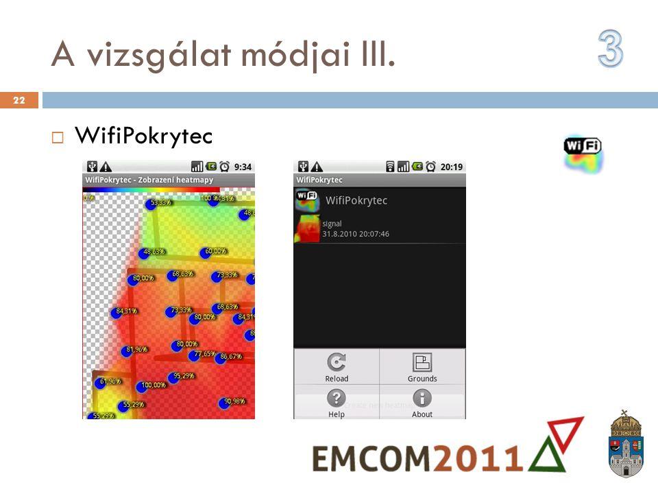 A vizsgálat módjai III. 3 WifiPokrytec