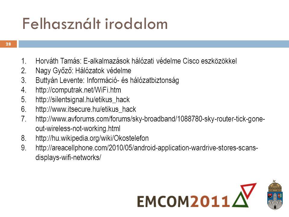 Felhasznált irodalom Horváth Tamás: E-alkalmazások hálózati védelme Cisco eszközökkel. Nagy Győző: Hálózatok védelme.