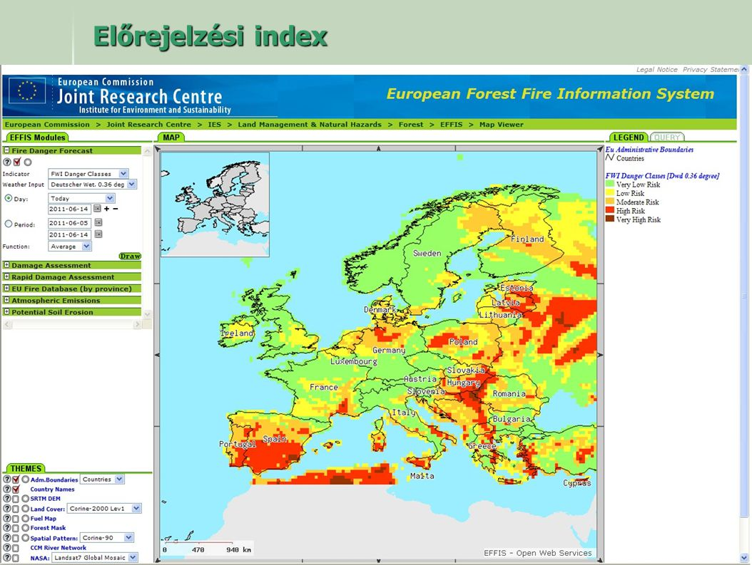 Előrejelzési index Az Európai Közösség által működtetett tudományos kutató központ által közzétett előrejelzési térkép.