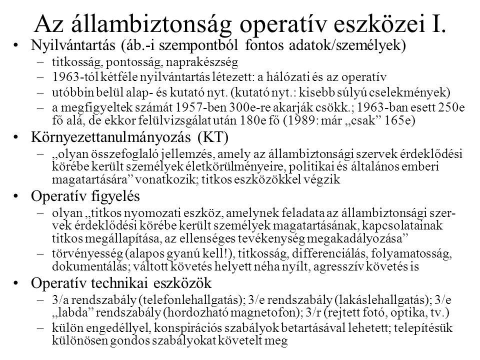 Az állambiztonság operatív eszközei I.