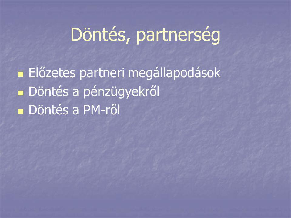 Döntés, partnerség Előzetes partneri megállapodások